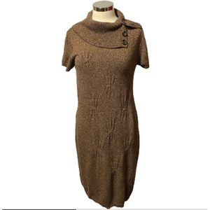 Jones Wear Dress Large Black and Brown Tweed